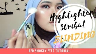 Download Video HIGHLIGHTER 30RIBU SUPER BLINDING!! | Red Smokey Eyes Tutorial MP3 3GP MP4