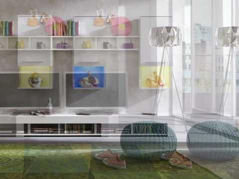 Anbauwand Wohnwand Giselle weiß glänzend LED RGB Beleuchtung 210 x 169 cm
