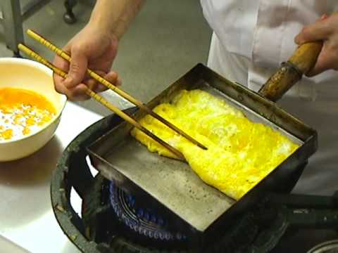 japanese -     How to make a Japanese rolled omelette ( Dashimaki Tamago ) as demonstrated by the Master Chef at the Shunraku Kaiten Sushi Restaura...