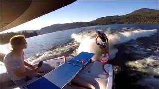 This guy hopped on his wakeboard and grabbed his paddle to play ping pong. As his friend stood the boat, they rallied the ball back and forth without letting...