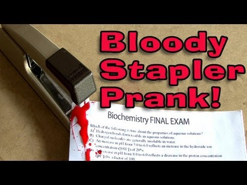 Bloody Stapler Prank!