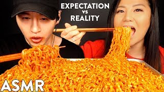 EXPECTATIONS vs REALITY with HYUNEE EATS   NUCLEAR FIRE NOODLE MUKBANG
