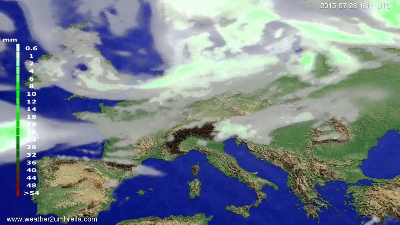 Precipitation forecast Europe 2015-07-24