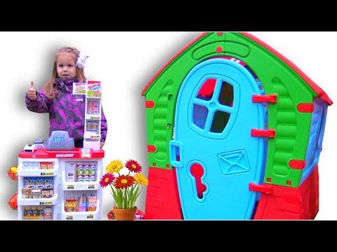 Vika and Lika play with Playhouses and supermarket like Vlad and Nikita