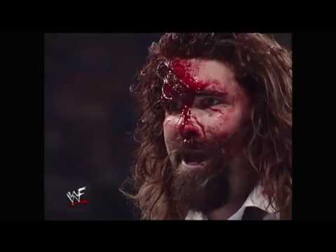 WWF Raw - Triple H vs Mankind bloody brawl