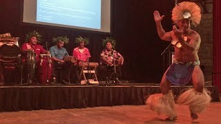 Accompanied by traditional drumming, a Cook Island dancer welcomes the audience to a performance in the Tanks Arts Centre in ...
