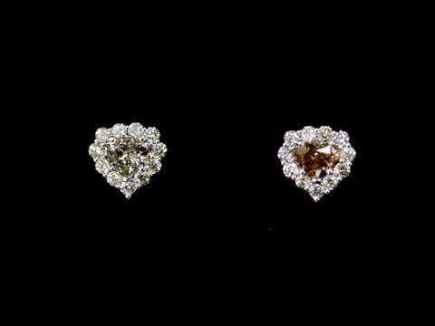 Lady's 18k White Gold 1.61ct (TDW) Fancy Yellowish Brown Diamond Earrings