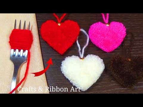 Easy Pom Pom Heart Making Idea with Fork - Amazing Valentine's Day Crafts - How to Make Yarn Heart