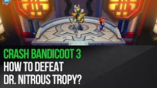 "This video shows how to defeat Dr. Nitrous Tropy in ""Crash Bandicoot 3: Warped"" for the PS4. This is a more challenging fight than two previous ones. It has three phases and each one begins by Nefarious using various attacks. During the first phase avoid red missiles and red energy beams by performing double jumps. The attacks will weaken Nefarious and after a while a path to him will be unlocked (it's always different so don't rely solely on this video). Quickly head towards the boss and use a Spin attack before he recovers. STAY on his platform, because he'll teleport to yours. In the second and in the third phase things are very similar. You will only have to watch out for blue missiles and in this case stay at the bottom of the screen and don't jump. It'll also be trickier to make the jumps once the boss is weakened, but you should be okay. Attack the boss three times to win.► MORE GAME GUIDEShttp://guides.gamepressure.com/► FOLLOW UShttps://twitter.com/gamepressurecomhttps://www.facebook.com/gamepressurecom"