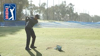 Tiger Woods' range session before Farmers Insurance Open 2020 by PGA TOUR