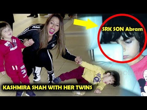 Kashmira Shah With Twins Cute MaSti And Shahrukh Khan's CUTE Son AbRam Playing In Car