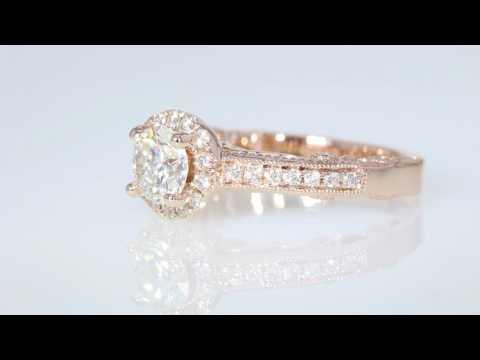 1.18CT Round Brilliant Diamond Halo Rose Gold Halo Engagement Ring Cert/Appr $8K+ $2995