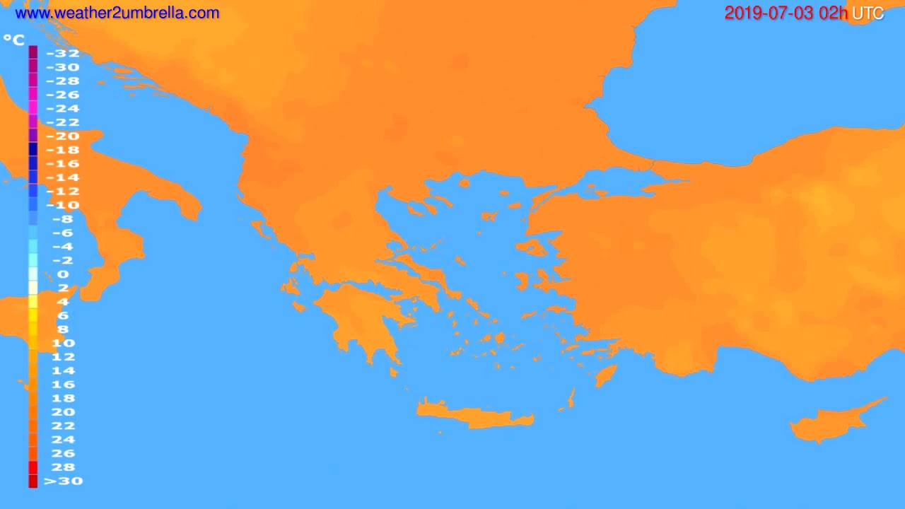 Temperature forecast Greece // modelrun: 00h UTC 2019-07-01