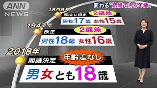 """男女とも18歳で結婚OK・・・""""成人引き下げ""""閣議決定18/03/13"""