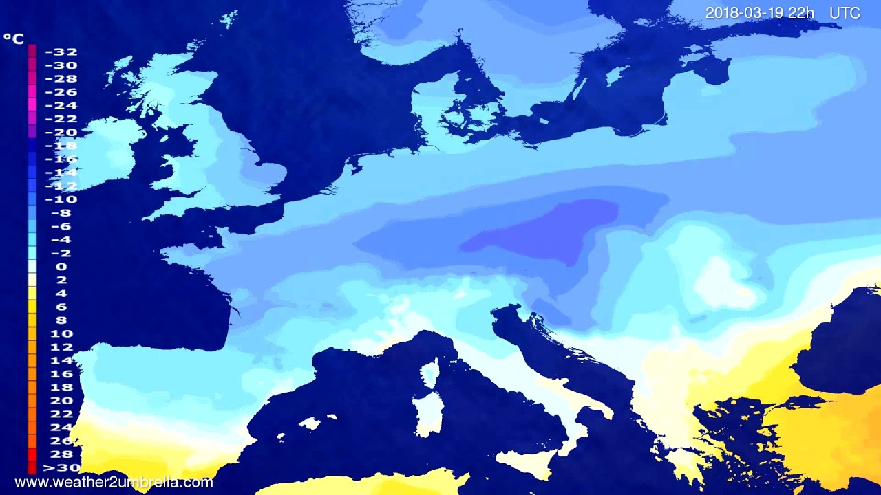 Temperature forecast Europe 2018-03-17