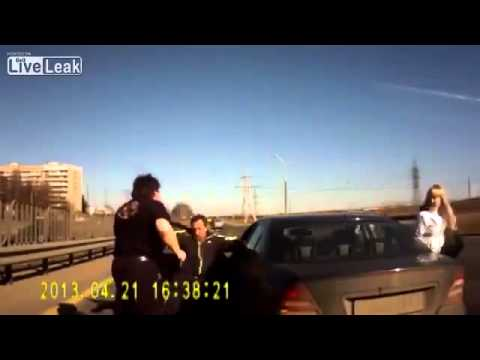 Another angry russian forcing a car off the road in rage, only to quickly realize he picked the wrong car.