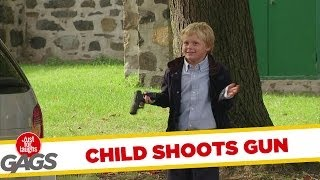 Kid Playing With Gun Shoots Duck