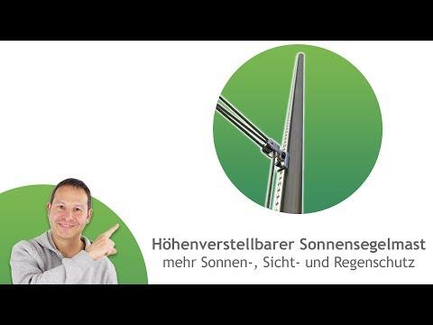 Sonnensegel Mast ø60,3mm, 3mm Wandung mit individueller Höheneinstellung - inkl. Flaschenzug-Set