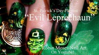 Nail art Tutorial | Saint Paddy's Day Nails | St. Patricks Day Evil Leprechaun Design - YouTube