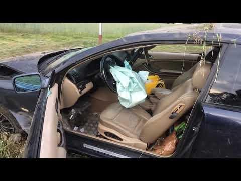 Wideo1: BMW wypadło z drogi na trasie Jezierzyce Kościelne - Włoszakowice