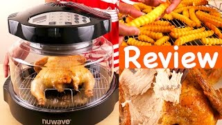 Hi Guys, today I'm reviewing the NuWave Infrared Cooking System. LINK to NuWave 20631 Oven Pro Plus:  http://amzn.to/2oj8oj7  It's an As Seen on TV product that has been out for many years. The NuWave cooks food using infrared, conduction and convection heat. You can cook fresh and frozen food in this unit. With frozen food, you don't have to defrost it, you can cook straight from the freezer which is convenient. Also, the heat is contained inside the dome and shouldn't heat up your house. You won't need ventilation as this unit should produce little to no smoke. Of course we will test that out. The unit measures 13.5 inches tall,15.5 inches wide and weighs 9 lbs. It will take up some counter space. It uses up to 1500 watts and 12.5 amps. The inside is 12 inches in diameter and 6.5 inches deep. The cord is 33 inches long.This is the easy cooking guide with cooking times for fresh and frozen food. The instruction manual has 50 pages of recipes for breakfast, appetizers, vegetables, meat and dessert. Any pan that you can use in a regular oven can be used with this unit like foil, metal, glass or silicone. You can also line the pan with foil for easy clean up especially if you're making bacon using the rack. This is the base that should stay cool to the touch. It should not be put on your stove top. Put the enamel liner pan next. Make sure the handles are down. You can put food directly on this pan. Then goes the rack if you're using it. You can cook one food on the pan and one on the rack at the same time. The plastic dome goes next, it fits into the base. Last is the power head that plugs in. Turn it clockwise to lock. This is the holder for the dome and head. There are programmable digital controls on the head. When lifting the dome to check food, use the handle on the head. To use the dome holder, slide it underneath the handle, the dome and head can rest on it. Before using wash all parts except the head in warm soapy water or your dishwasher. To cook, set the cook time and press start. When cooking, the default temperature is 350 degrees Fahrenheit. You can change the setting to Celsius. You can adjust the temperature depending on what you're cooking by pressing cook temp. The cooking time is displayed and it will count down, the colon will blink. If you want to pause cooking at any time, press the Pause/Clear button once and you'll see the time left and the colon will stop blinking. When time is up, the machine will beep and automatically stop cooking. Press the Pause/Clear button twice to stop and the display will show 0. You can cook just under 10 hours when cooking between 100 and 324 degrees Fahrenheit and up to 2 hours when cooking between 325 and 350 degrees. With the delay button, you can program the unit to wait up to 9 hours 59 minutes before cooking. If you want to heat up already cooked food, press the reheat button, start and it will heat for 4 minutes at 350 degrees Fahrenheit. Let's test the Nuwave out. First, I'll try cooking a whole chicken. This is about 4.5 pounds. I've washed and dried the chicken and seasoned with a tsp of oil, salt and pepper. With whole chicken or turkey, cook it breast down first for half the cooking time. Then turn it over and cook it for the second half. I'll set the time to 1 hour 30 minutes. About 20 minutes per pound is the average cook time. Put foil over the top if the chicken gets too brown.While the chicken was cooking, there was no smoke at all. Of course the room smelled like roasted chicken and it was a good smell. There was no plasticky or unpleasant smell. Next, I'll make some frozen french fries. Put the fries on the rack with 3 inch height. The cook temperature is 350 and I'll set it for 20 mins. Check them halfway and turn if necessary.The warm button can be pressed to keep food warm after cooking, the default is 155 degrees Fahrenheit for 2 hours, you can program the time. It is best to remove food after it's finished cooking. I'll take the chicken out and put it on a plate. Let meat rest about 15 minutes before cutting into it. Cover loosely with some foil. The Nuwave did an amazing job on the chicken and a great job on the french fries. Unplug the unit and cool. To clean the head, just wipe with a damp cloth and dry. I hope this review was useful. Subscribe for more reviews of products you use every day. Thanks for watching :)