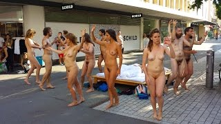 +18, Swiss Government Supported public nudity, Body and Freedom Festival Naked Performance in Urban Space Biel/Bienne, ...