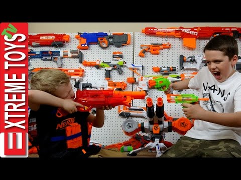 Full Nerf Gun Toy Arsenal Attack! Ethan with the Nerf Mastondon Vs. Cole with the Nerf Rhino Fire
