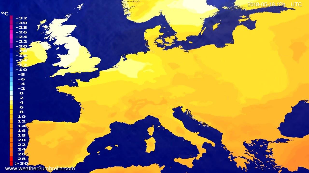 Temperature forecast Europe 2018-05-16
