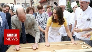 The Duke and Duchess of Cambridge have tried their hand at pretzel making on their visit to Heidelberg in Germany.Prince William made various attempts alongside Kate, before opting for a simpler dough folding method.The couple then each coxed a boat for a race on the river - with the prince's boat the apparent winner.Please subscribe HERE http://bit.ly/1rbfUogWorld In Pictures https://www.youtube.com/playlist?list=PLS3XGZxi7cBX37n4R0UGJN-TLiQOm7ZTPBig Hitters https://www.youtube.com/playlist?list=PLS3XGZxi7cBUME-LUrFkDwFmiEc3jwMXPJust Good News https://www.youtube.com/playlist?list=PLS3XGZxi7cBUsYo_P26cjihXLN-k3w246