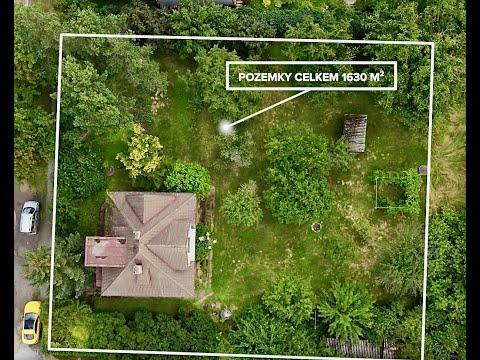 Video Prvorepublikový dům s velkou zahradou a zahradním domkem v Letech u Dobřichovic