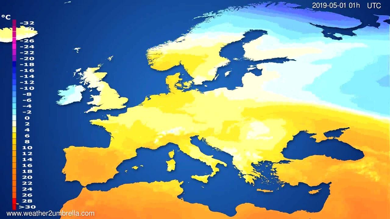 Temperature forecast Europe // modelrun: 00h UTC 2019-04-29