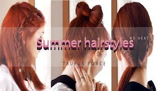 Hello guys! In this video i made three different hairstyles. No heat. As summer is here, who wants to damage their hair even more? Not me for sure. I hope you enjoy this video as much as i did filming it. If you get inspired by any of this models, send me a picture , a video. I would love to see them . Share the love xxx--------------------------------------------------------------------------Let's be friends Twitter -  https://twitter.com/taurusforce27Facebook -  https://www.facebook.com/taurusforce27/Instagram -  https://www.instagram.com/itsmekatia/