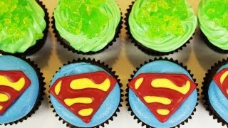 HOW TO MAKE SUPERMAN CUPCAKES - NERDY NUMMIES - YouTube