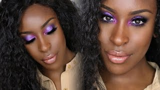 Cream Contour and Highlight + Bold Bright Purple Eyes by Jackie Aina