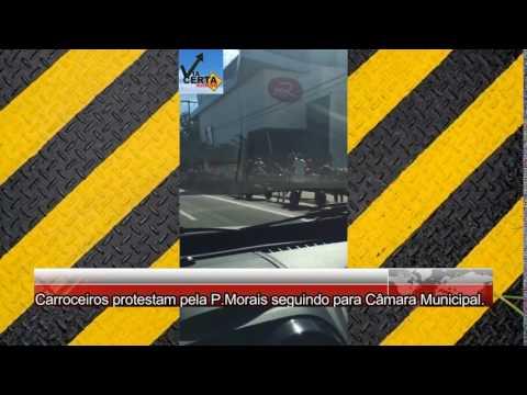Carroceiros protestam pela Prudente de Morais seguindo para Câmara Municipal.