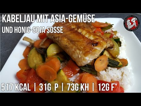 Kabeljau mit Asia-Gemüse & Honig-Sauce | Schnelles Fitness Rezept