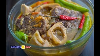 "Kansi is a popular Ilonggo beef shank soup dish. I can easily be described as a crossover between sinigang and bulalo. Beef Kansi makes use of unripe jackfruit. The traditional souring agent is a local fruit called ""batwan"". We are using Sinigang sa sampaloc mix for this recipe. Get the complete recipe at http://panlasangpinoy.com/2016/08/29/kansi-recipe-ilonggo-bulalo-and-sinigang-in-one-delicious-soup-dish/"
