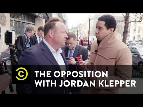 Correspondent from The Opposition with Jordan Klepper confronts Alex Jones and calls him a crisis actor