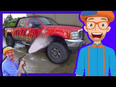 Blippi Car Wash  Truck Videos for Children