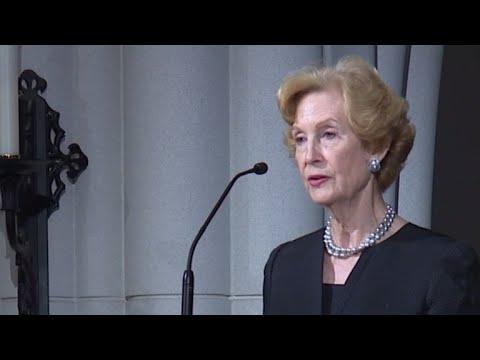 Susan Garrett Baker, longtime friend of Barbara Bush, gives eulogy