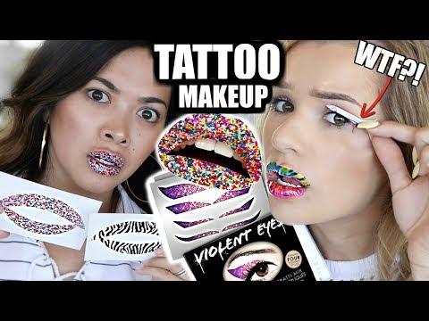 TESTING PEEL-OFF TATTOO MAKEUP! Eyeliner, Lipstick, & Lip Plumper   Does it Work?!