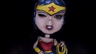 Only In Ur Mind: Welcome to Only In Ur Mind.  Just thought I would do a cute little Wonder Woman cartoon makeup this week. I hope you enjoy!Make-up used mehron paradise paint: white, yellow, red, and  blueWolfe face: 012 and whiteCameleon: BlackFor most of the products I used please check out my affiliate link: https://store.facepaint.com/tasharo.htmlmusic by: Silent Partner from the YouTube library called High School Hero