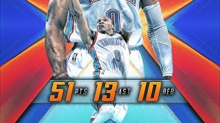 Russell Westbrook 51 Pts Triple-Double! 13 Reb 10 Ast Suns vs Thunder 2016 10-28