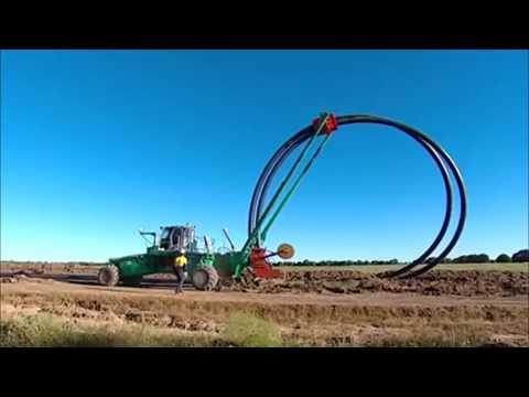 Дренаж полей: Траншеекопатель, Трактор, Трубоукладчик