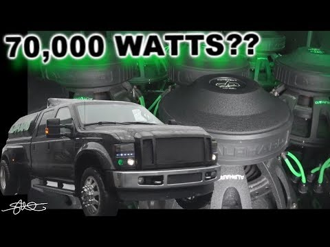 "70,000 Watts? The Alphard Ford F-350 Dually (12) 15"" Subwoofers 25 Speakers In Each Door!"