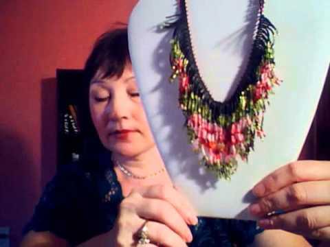 Fringe beaded necklace, hand made jewelry.wmv