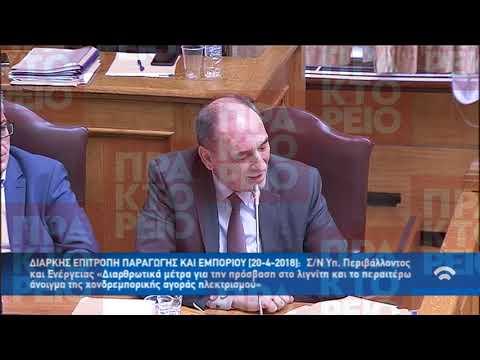 Απόσπασμα από την ομιλία του Γ. Σταθάκη στην επιτροπή Παραγωγής και Εμπορίου της Βουλής για τη ΔΕΗ