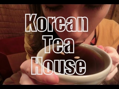 Drinking Korean Tea in Insadong, Seoul, Korea to warm up on a cold day