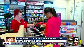 The Powerball Jackpot has hit $700 million. The drawing is Wednesday night at 11.