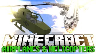 Minecraft AIRPLANE AND HELICOPTER MOD Showcase (MCHeli Mod)